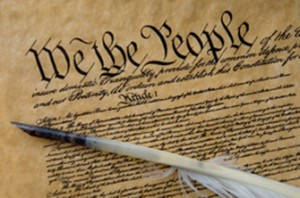 Stock Photo of the Consitution of the United States and Feather Quill